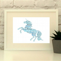 Unicorn Print - Personalised with your choice of name and colours