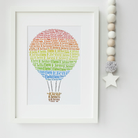 Hot Air Balloon Personalised Print