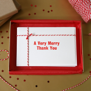 Box of 5 'Very Merry' Christmas Thank You Cards