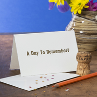'A Day To Remember!' Congratulations Card