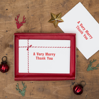 Box of 6 'Very Merry' Christmas Thank You Cards