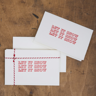 Let It Snow - Pack of 5 Letterpress Christmas Cards