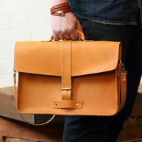 "15.5"" Handmade Vegetable Tanned Leather Satchel - Desert Satchel"