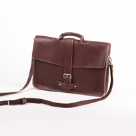 "15.5"" Handmade Vegetable Tanned Leather Satchel - Trench Satchel"