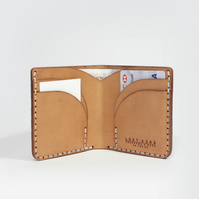 Tan BiFold Leather Wallet - Handmade Vegetable Tanned Leather BiFold Wallet