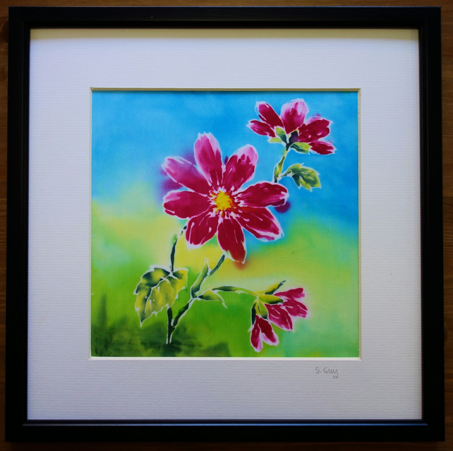 Silk Painting Pink Flowers MOUNTED ORIGINAL