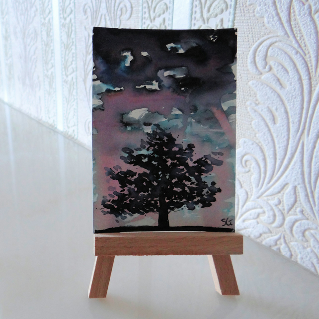 ACEO Tree Sketch Card Painting Original