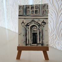 Georgian Door Painting Monochrome Sketch ACEO Ormskirk Original