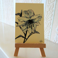 Monochrome Lily Flower Sketch Card ACEO