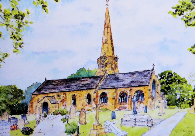 Church Greetings Card, St Michaels, Aughton, Ormskirk FREE UK POST