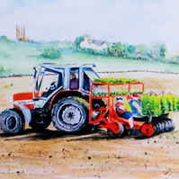 Tractor Greetings Card, Ormskirk