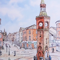 Clock Tower Greetings Card, Ormskirk