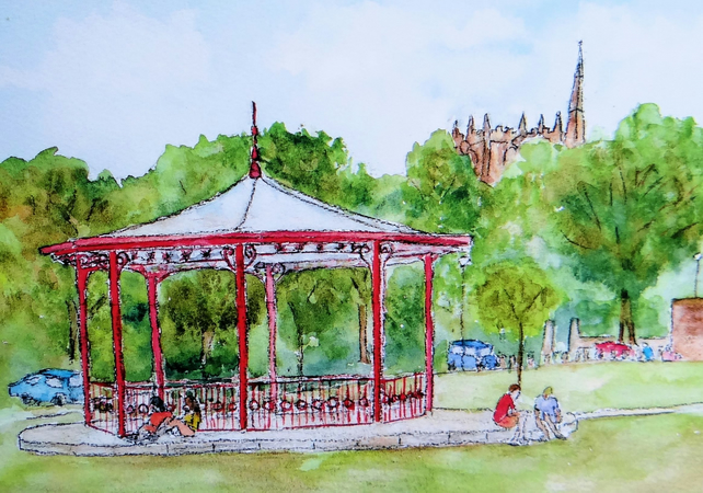 Bandstand Greetings Card, Ormskirk FREE UK POST