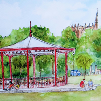 Bandstand Greetings Card, Ormskirk
