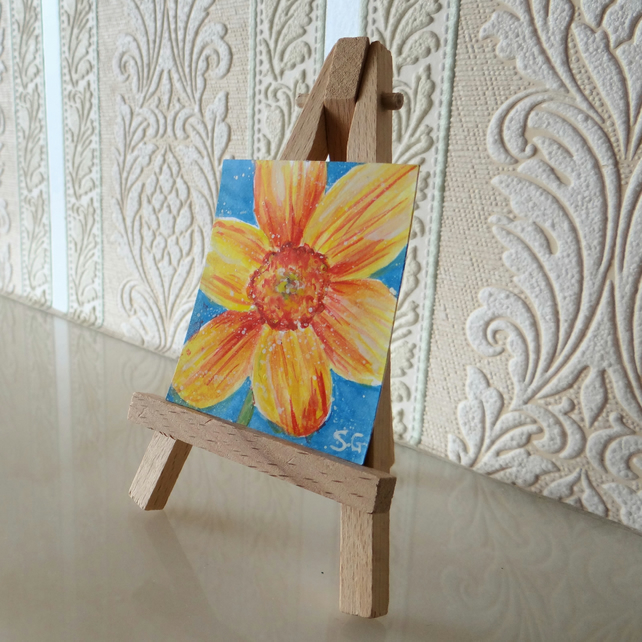 Daffodil Dolls House Miniature Painting ORIGINAL Mini Folksy