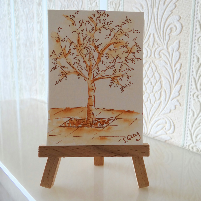 Tree Garden Patio Monochrome Sepia Sketch Card ACEO