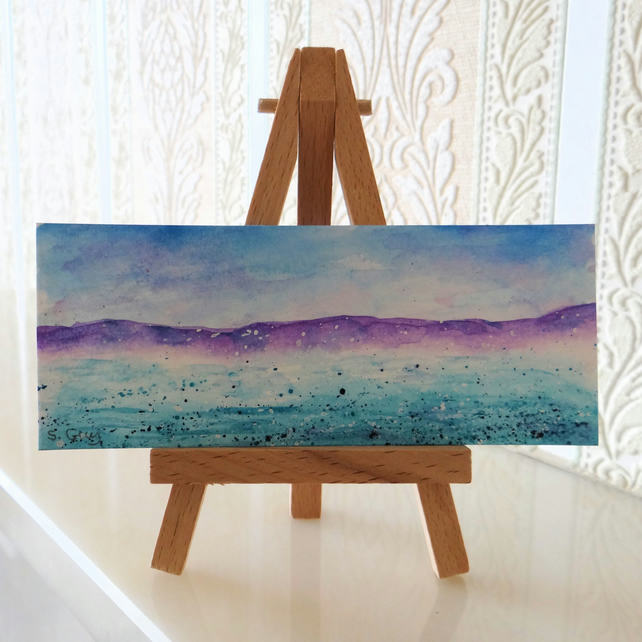 Seascape Ocean Panoramic Miniature ORIGINAL Painting - RESERVED FOR HAZEL BRANT