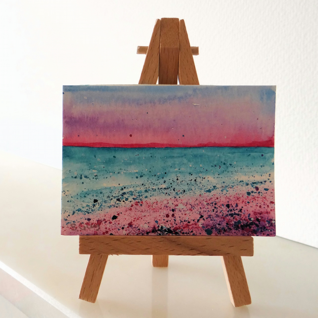 Pink and Purple Sunset Beach Seaside Painting ORIGINAL ACEO Miniature