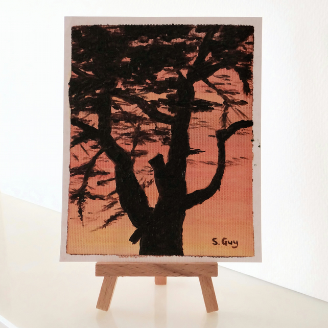 Sunset tree silhouette oil painting