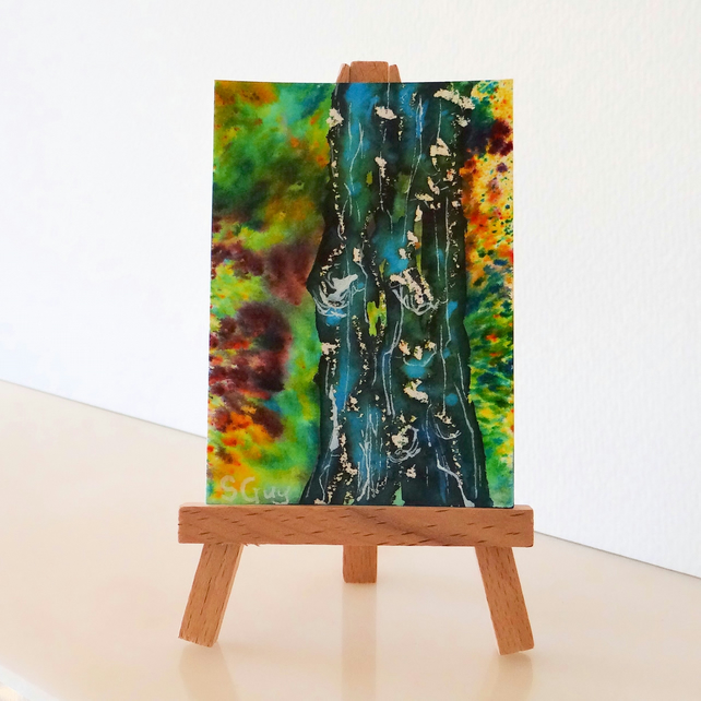 Abstract Tree Trunk ACEO Miniature ORIGINAL Painting