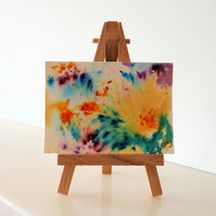 Hibiscus - an abstract ACEO Miniature ORIGINAL Painting
