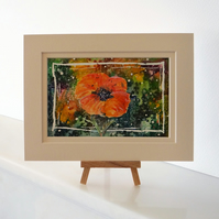 Poppy small postcard painting ORIGINAL OSWOA