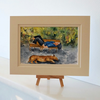 Sleeping Dog and Lady small watercolour postcard painting ORIGINAL OSWOA
