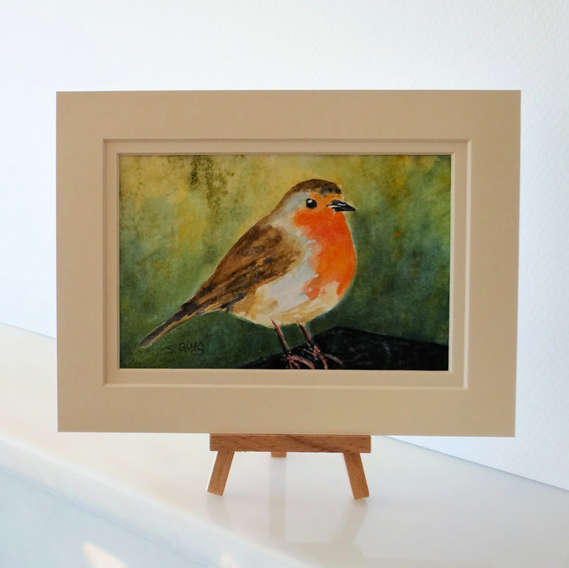 Robin Painting, postcard sized Watercolour OSWOA ORIGINAL