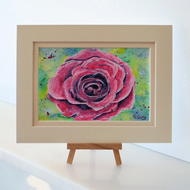 Rose Painting in a Mount Original Postcard Sized