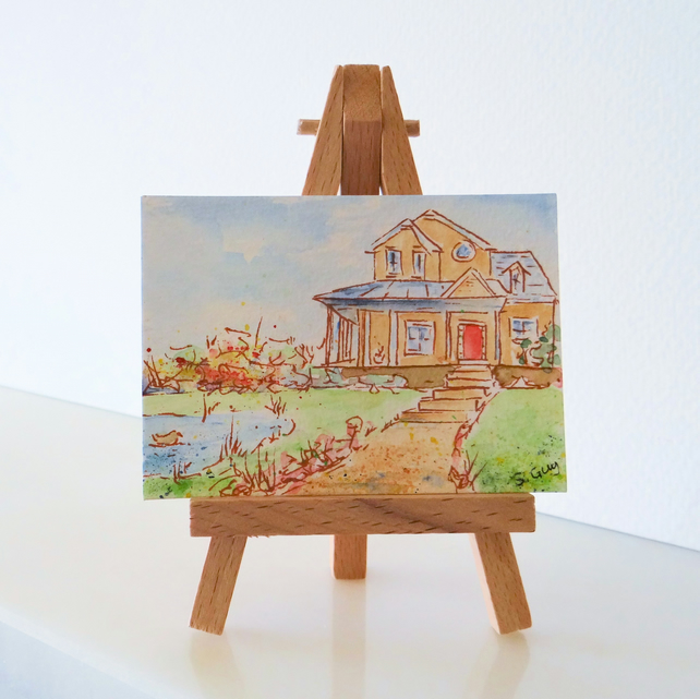The all American dream painting ORIGINAL ACEO Mini Folksy