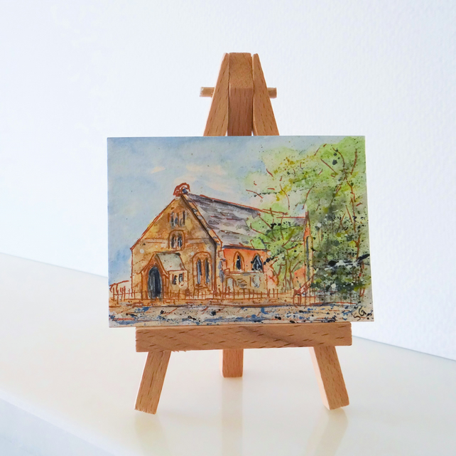 Church Painting ORIGINAL ACEO Ormskirk