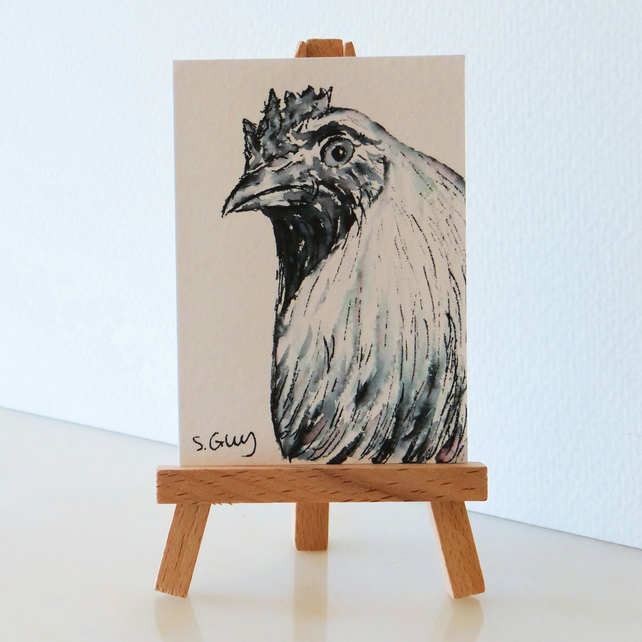Chicken Hen miniature painting sketch ACEO ORIGINAL