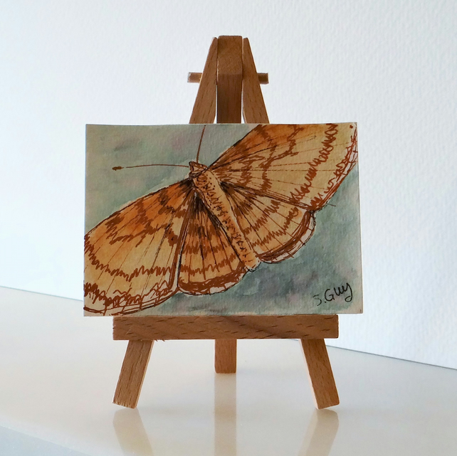 Butterfly Painting Ink Sketch Card ACEO Miniature