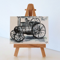 Traction Engine Monochrome Sketch Card ACEO ORIGINAL Painting