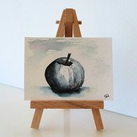 Apple Painting ACEO Monochrome