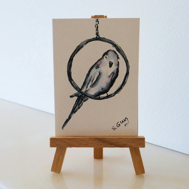 Budgie Budgerigar Bird Painting Monochrome Sketch ACEO Original Mini Folksy