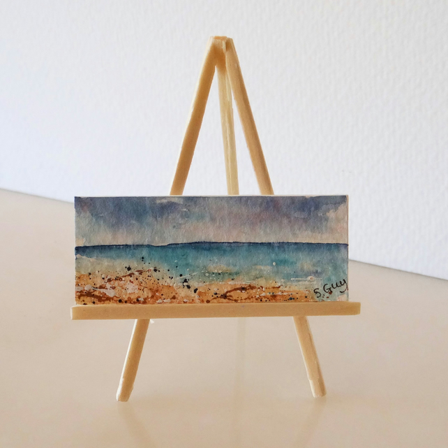 Seascape Ocean Beach Panoramic Miniature ORIGINAL Painting Dolls House