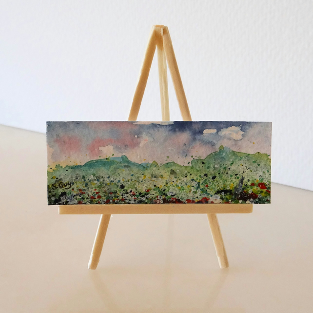 Landscape Mountains Panoramic Mini ORIGINAL Painting Dolls House Mini Folksy