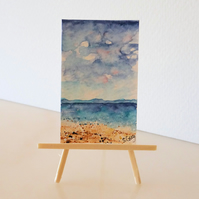 Seascape Ocean Beach Panoramic Tiny ORIGINAL Painting Dolls House Mini Folksy