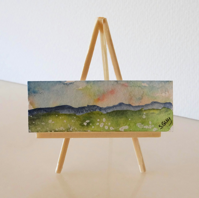 Sheep landscape panoramic tiny miniature ORIGINAL painting: Mini Folksy