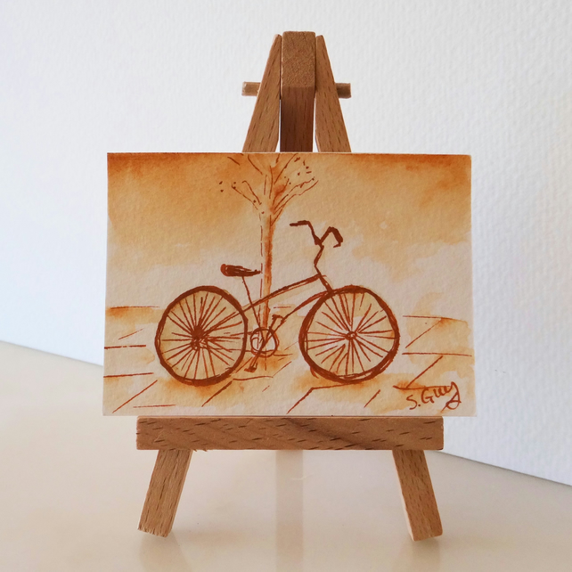 ACEO Bicycle Bike Sepia Monochrome Sketch Card