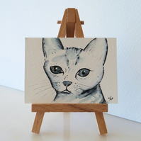 Cat Painting Monochrome Sketch ACEO Original