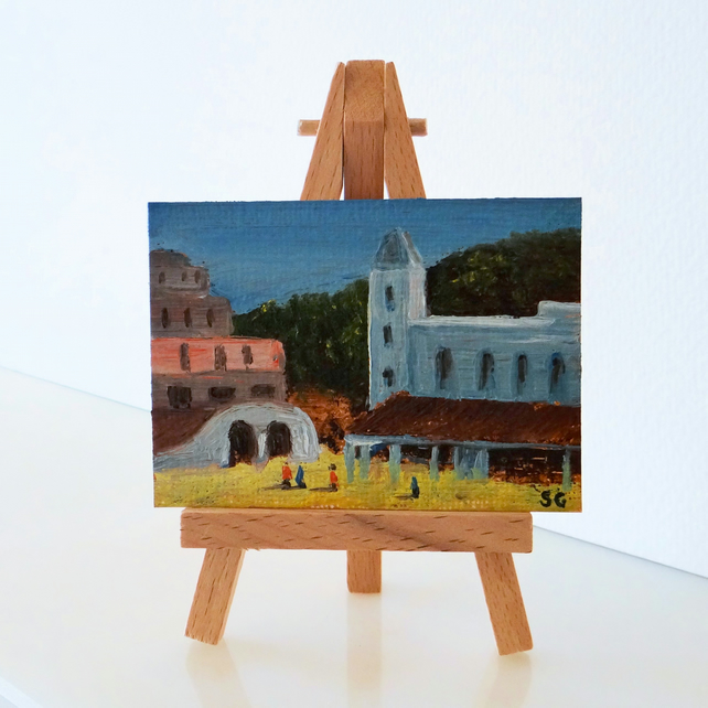 ACEO Mediterranean Square ORIGINAL Oil Painting