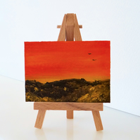 ACEO Sunset Mountain Moorland Landscape Oil Painting ORIGINAL
