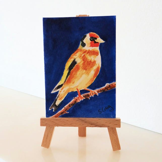Bird Goldfinch Painting Miniature ACEO ORIGINAL