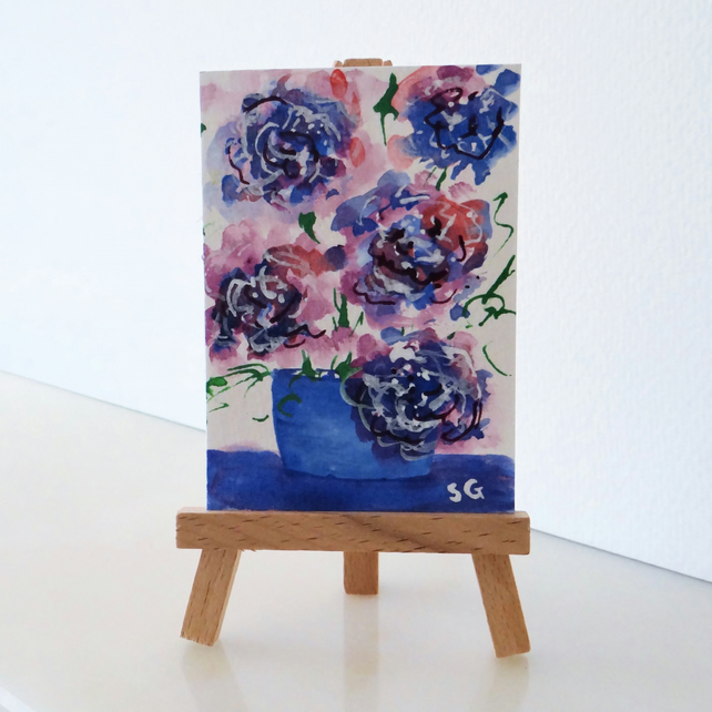 Flowers in a pot, colourful houseplants miniature painting ACEO