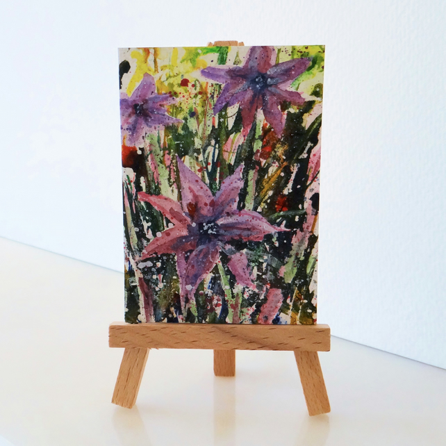 Purple flowers Painting ACEO ORIGINAL Mini Folksy