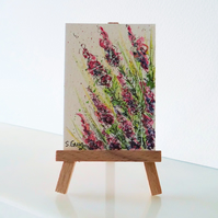 Wild Flowers Pink Miniature Painting ORIGINAL ACEO Mini Folksy