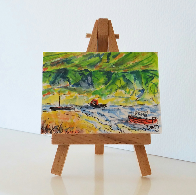 Boats in the harbour at Bude in Cornwall. Miniature painting ORIGINAL ACEO