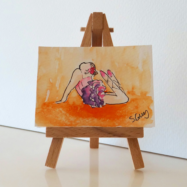 Ballet dance miniature painting ORIGINAL ACEO